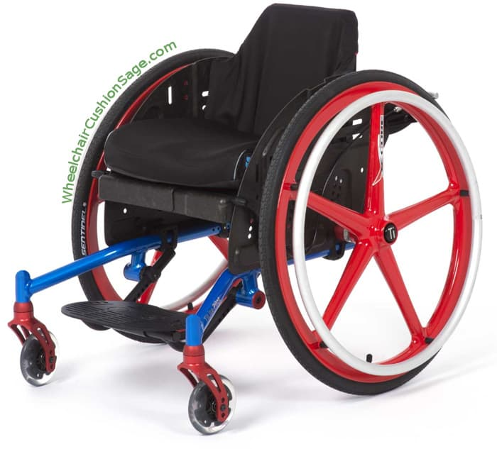 Diagonal View of Left Side of TiLite Pilot Pediatric Wheelchair